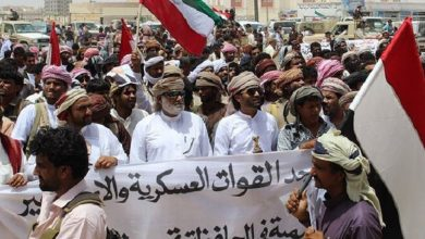 Photo of Yemenis stage protest in al-Mahrah province against presence of foreign troops